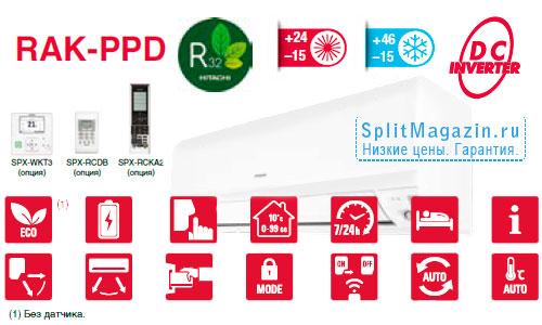 Настенная инверторная сплит-система Hitachi RAK-50PPD / RAC-50NPD Light Commercial