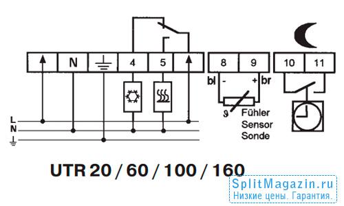 Терморегулятор Eberle UTR-100 - схема