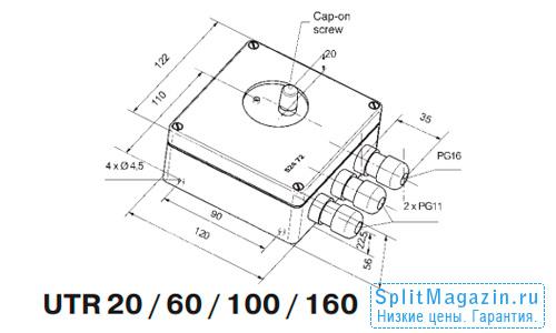 Терморегулятор Eberle UTR-100 - размеры